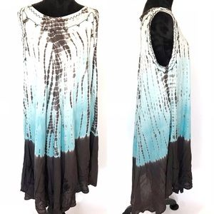 Revue sleeveless hippie blue/brown tie-dye dress